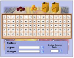 Greatest Common Factor Game Sixth Grade Math, Fourth Grade Math, Math Class, Science Lessons, Teaching Science, Elementary Science, Elementary Schools, Lcm And Gcf, Math Sites