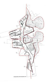 Miralles Lines, Curvature Analysis through Graphic Differential Geometry 1: Curve Identification. Plan Curves starting from left: the retaining wall, the enclosure wall, the paving/landscape division. Each curve possesses a different character in the negotiation of rate of change. Underlay courtesy of Carme Pinós.