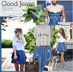 Beautybees — Good Jeans Skirt by elisapar featuring leather...