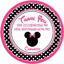 Personalised girls pink minnie mouse bomboniere favours stickers for treat bags