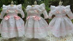 White Antique Cotton Dress with full Slip and Bonnet for your 26 -27 German or French Bebe doll.  The costume is modeled by GERMAN Doll 26 tall. The