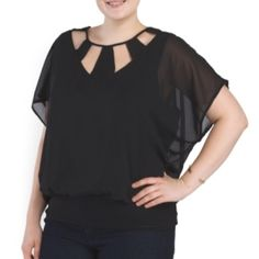 Black sheer top with neckline cutouts Adorable for a night out Tops Blouses