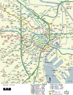 東京都市鉄道地図 Urban Rail Map of Tokyo Japan Train, Subway Map, Tokyo, Urban, Chains, Travel, World, Underground Map, Viajes