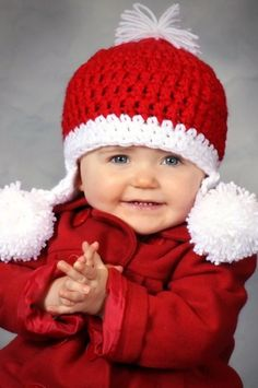 Knit Crochet Christmas Baby Unisex Earflap Pom Hat  Holiday Photo Prop.