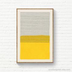 Yellow & Black Stripes Wall Art, Minimalist Print Wall Decor, Mid Century Modern Minimal Print, Color Block Artwork Down