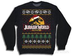 Crewneck Sweatshirt: Jurassic World- Ugly Xmas Sweater Crewneck Sweatshirt at AllPosters.com