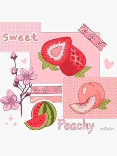 Peach Wallpaper, Kawaii Wallpaper, Cartoon Wallpaper, Cute Food Wallpaper, Aesthetic Drawing, Aesthetic Collage, Aesthetic Anime, Arte Do Kawaii, Kawaii Art