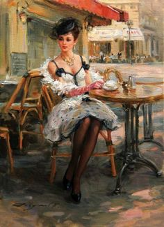 Konstantin Razumov - A la terrasse du café / Russian impressionist / Oil on canvas