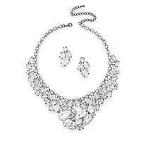 Stunning Gunmetal Tone Clear Crystal Fashion Necklace and Earring Set
