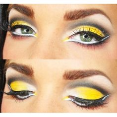 yellow and black make up bright, attention grabbing, showstopping eyeshadow for night, clubbing or a party
