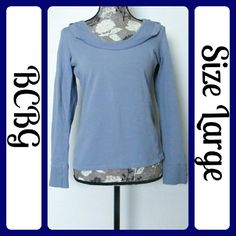 """Sz L BCBG Hoodie Pull Over, Light Blue EUC ....76% Cotton, 20% Polyester, 4% Spandex 