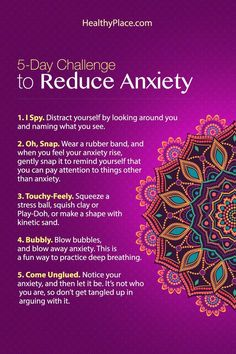 """Taking this ten-day challenge to reduce anxiety can be very effective. Learn little tricks you can do every day to reduce your anxiety. Try it for ten days."" www.HealthyPlace.com"
