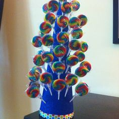 Homemade Lollipop tree - looks like painted foam from a craft store with swirl lollpops!