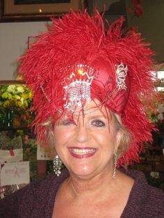 """The """"Hats Off to You"""" bra worn as intended... created by Joy from the Red Hat Society!!"""