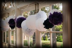 White Lantern Purple Black White PomPoms (28 piece set) Flower Wedding Party Baby Girl Room Nursery Decoration