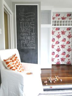 I would love to do something like this in my entryway, but since the space is small, I fear people would be brushing up against it as they entered.  I really like the idea of being able to put up different quotes!