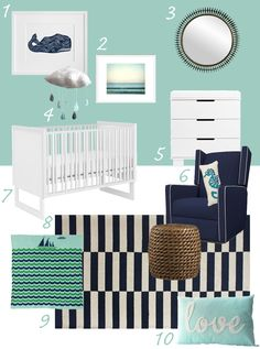 My Modern Nursery # 58 Aqua, Navy and Nautical featuring the Baby Jives Cloud Mobile sold on Little Choux! -- Like this wall color, but with dark brown furniture instead. Aqua Nursery, Boy Nursery Colors, Baby Girl Nursery Themes, White Nursery, Nautical Nursery, Baby Boy Rooms, Nursery Neutral, Baby Room Decor, Baby Boy Nurseries