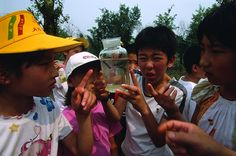 Yuck Students of Miyun elementary school in Beijing discover the dirty condition of a water sample taken from their local reservoir. Twenty-five to thirty-three percent of Chinese do not have access to safe drinking water.