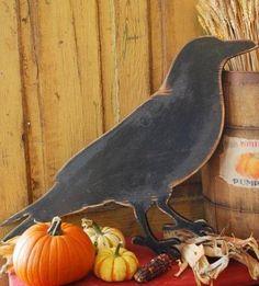Prim wooden crow cut-out fall decor Primitive Autumn, Primitive Crafts, Wood Crafts, Holidays Halloween, Halloween Crafts, Halloween Decorations, Halloween Quotes, Halloween Ornaments, Halloween Signs