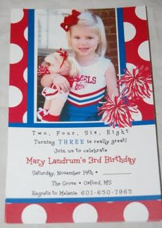 A cheerleading birthday party invitation. Maybe one day I will have my little girl and I am so doing this!