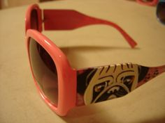 Pink, OOAK hand painted sunglasses fawn pug and black pug. available in many colors!