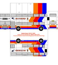 Bluebird paper bus model. Stagecoach Fan Club. DIY paper craft