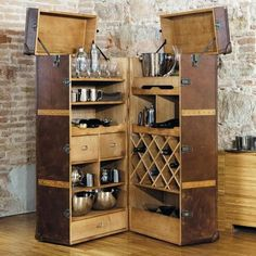 25 Mini Home Bar and Portable Bar Designs Offering Convenient Space Saving Ideas Mini home bar designs and portable home bars add convenient space saving ideas that improve functionality of interior design Mini Bar At Home, Small Bars For Home, Diy Home Bar, Mobile Bar, Portable Home Bar, Bar Vintage, Bar Unit, Home Bar Furniture, Furniture Ideas