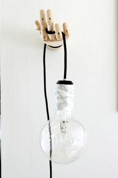 Wooden hand lamp