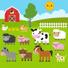 Farm Animals Clipart, Farm Animals Clip Art, Barnyard Clipart, Barnyard Animals Clip Art - Commercial and Personal Use Barnyard Animals, Cute Baby Animals, Cute Animal Clipart, Star Farm, Animal Cutouts, Farm Animal Cakes, Barn Wood Crafts, Clip Art, Animal Heads
