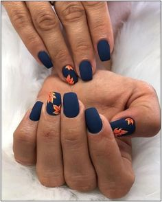 Nail art is a very popular trend these days and every woman you meet seems to have beautiful nails. It used to be that women would just go get a manicure or pedicure to get their nails trimmed and shaped with just a few coats of plain nail polish. Fall Nail Art Designs, Cute Nail Designs, Nails Design Autumn, Navy Blue Nail Designs, Shellac Nail Designs, Flower Nail Designs, Hair And Nails, My Nails, Prom Nails