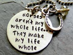 Hand stamped Horse Quote Necklace for by EquineExpressionsbyD. , via Etsy.