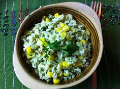 Skinny Simple Recipes: Garlic Brown Rice with Cilantro and Corn