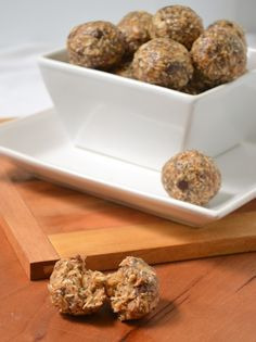 Natural No-Bake Energy Bites! Used Wheat Germ instead of Coconut, Natural Peanut Butter, and Dark Chocolate Chips!  Wonderful snack or dessert!