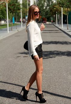 STYLE LOVER -BLACK & WHITE  , Zara in Shirt / Blouses, Christian Louboutin in Ankle Boots / Booties, Mango in Shorts, Chanel in Bags, Yves Saint Laurent in Jewelry, Prada in Glasses / Sunglasses