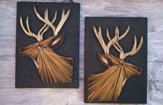 Vintage String Art Deer Pictures 3D Buck by HollyFerencze on Etsy