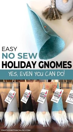 Looking for a fun and easy project that YES even you can do! These adorable no sew gnomes are SO simple! Get the full tutorial and printable patterns at Parties With A Cause. They also make for a great DIY gift for any holiday! Christmas Gnome, Diy Christmas Gifts, Christmas Projects, Christmas Holidays, Christmas Ideas, Christmas Ornament Crafts, Making Christmas Decorations, Simple Christmas Crafts, Christmas Crafs