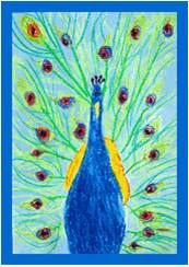 Prachtige pauwen tekenen met oliepastel en lichtblauwe ecoline als achtergrond. Geschikt vanaf groep 5. De lesbeschrijving kan in een persoonlijk bericht via Facebook opgestuurd worden. Spring Art Projects, Spring Crafts, Peacock Art, Art N Craft, Owl Art, Art Lesson Plans, Colorful Drawings, Art Classroom, Art Plastique
