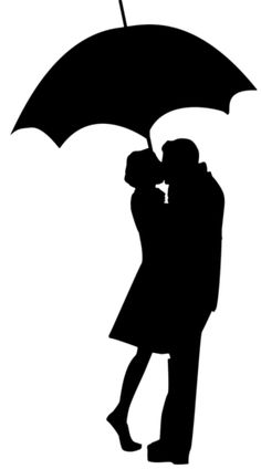 silhouette couple with umbrella - use as a pattern Silhouette Couple, Silhouette Cameo, Kids Silhouette, Silhouette Images, Silhouette Portrait, Silhouette Projects, Vintage Silhouette, Kissing Silhouette, Person Silhouette