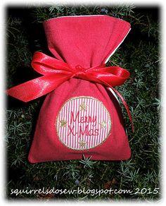 Der Stickbär Weihnachtssäckchen ITH komplett mit der Stickmaschine gestickt, gestickt von Lotta