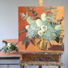 I painted a small demo of this bouquet in the Fast & Furious workshop @kdartcenter this weekend and loved the palette so stayed late at the studio last night to finish this bigger piece. I'll be showing this and some other new paintings at the Bohemian Botanicals show that opens @grandbohemianmountainbrook Thursday from 5PM - 7PM. Hope you can join us! #artopening #mountainbrook #abstractflorals