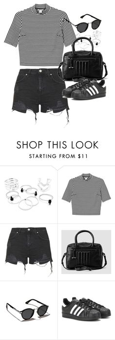 """""""Outfit for summer with denim shorts"""" by ferned ❤ liked on Polyvore featuring Monki, Topshop, AllSaints, Abercrombie & Fitch and adidas"""