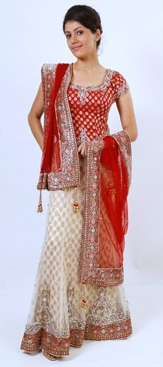 115804: Red and Maroon, White and Off White color family Bridal Lehenga.