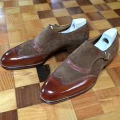 Handmade Two Tone Brown Suede Leather Monk Shoes Formal Shoes Men's - Dress/Formal