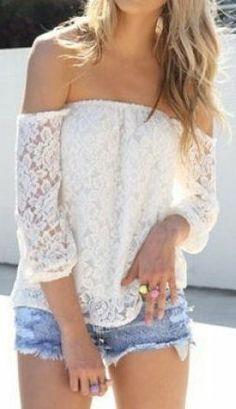 Off The Shoulder Lace Blouse ♥