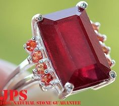 11.35 cts RUBY & ORANGE SAPPHIRE RING SOLID 925SS s#7  RETAIL PRICE WORTH OVER $750.00 + GEM REPORT