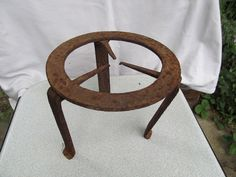ANTIQUE VERY RARE OLD 18 CENTURY HAND FORGED WROUGHT IRON TRIVET FOR FIREPLACE