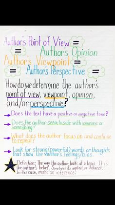 Author's Point of View,Perspective, Viewpoint, Opinion Anchor Charts First Grade, Ela Anchor Charts, Kindergarten Anchor Charts, Reading Anchor Charts, Teaching 5th Grade, Third Grade Reading, Middle School Reading, Teaching Reading, Reading Skills