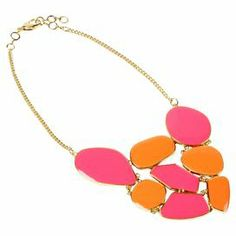 """Perfect for a party or afternoon on the town, this striking statement necklace showcases a 2-tone color-block bib in orange and hot pink.   Product: NecklaceConstruction Material: Brass and enamelColor: Orange and hot pinkDimensions: 16-18"""" Chain"""