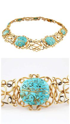 Very rare and unusual Art Nouveau necklace from the 1900s mounted with 9 antique Iranian turquoise pieces, which are inlaid with Arabic symbols in gold. Hallmarked.