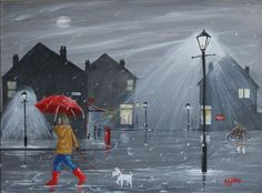 Radley Dog Girl Rain Postbox Original Oil Acrylic Painting Canvas Jim Gillon nr in Art, Artists (Self-Representing), Paintings | eBay